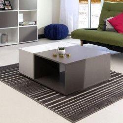 MEGA Table basse style contemporain mélaminée gris et blanc - L 89 x l 67 cm