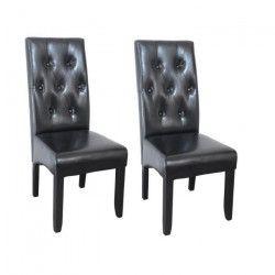 CUBA Lot de 2 chaises de salle a manger en simili noir - Contemporain - L 48 x P 42 cm