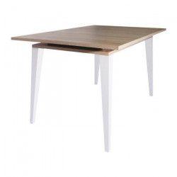 OSLO Table extensible - Scandinave - Décor chene naturel + Pieds en hetre massif - L 134 - 174