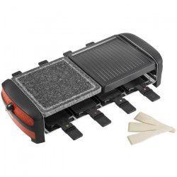 3 en 1 Raclette, gril et pierre de cuisson avec 8 poelons - 1300W - avec thermostat - en rouge