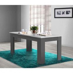 FINLANDEK Table a manger PILVI de 6 a 8 personnes style contemporain - Blanc et gris foncé mat - L 160 x l 90 cm
