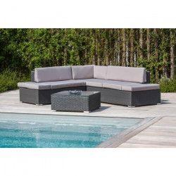 Salon de jardin 1 table basse + canapé d`angle en aluminium et résine tressée - Gris foncé