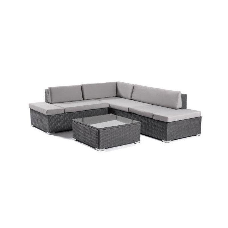 Salon de jardin 1 table basse + canapé d`angle en
