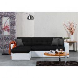 ROMAN Canapé d`angle réversible convertible 3 places - Tissu noir et simili blanc - Contemporain - L 235 x P 85 -