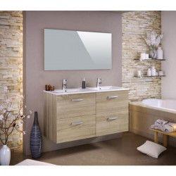 STELLA Ensemble salle de bain double vasque avec miroir L 120 cm - Décor chene