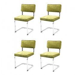 MANU Lot de 4 chaises de salle a manger - Velours vert pieds chromé - Vintage - L 49 x P 54 cm