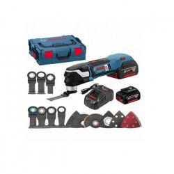 BOSCH Outil multifonction Brushless GOP18V-28 avec 2 batteries 18V 5Ah Li-ion et 16 accessoires