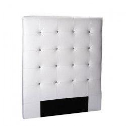 SOGNO Tete de lit capitonnée style contemporain - Simili blanc - Boutons cristal - L 90 cm