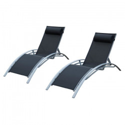 LOUNGITUDE Lot de 2 transats en aluminium gris et toile en textilene noir