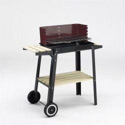 GRILL CHEF Barbecue a charbon sur chariot - Acier émaillé - Noir et rouge