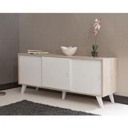 OSLO Buffet bas scandinave blanc et décor chene Bardolino - L 149 cm