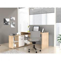 FINLANDEK Bureau d`angle TYÖ contemporain décor chene clair et blanc mat - L 140 cm