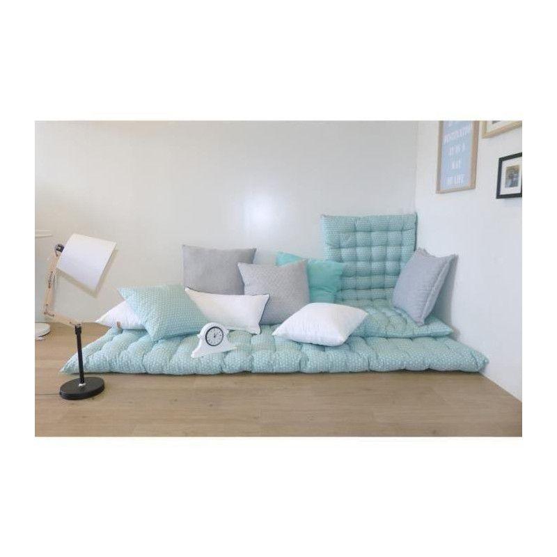 matelas de sol coton imprim scandi 80x190 cm vert. Black Bedroom Furniture Sets. Home Design Ideas