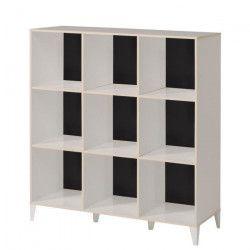 KAREA Cubes de rangement 9 cases scandinave décor blanc et acacia clair - L 104 cm