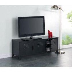 CAMDEN Meuble TV industriel en métal noir laqué - L 120 cm