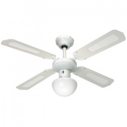 FARELEK - BALI Ø 107 cm - Ventilateur de plafond réversible, 4 pales blanches / cannées blanches + éclairage -