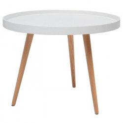NORDIC Table basse ronde scandinave laquée blanc + pieds en bois hetre massif - Ø 60 cm