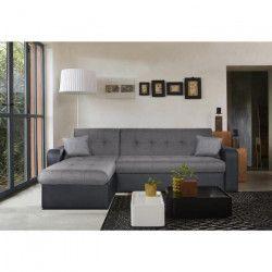 ROMAN Canapé d`angle réversible convertible 3 places - Tissu gris et simili noir - Contemporain - L 235 x P 85 -