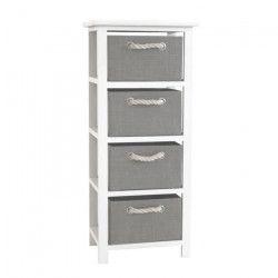 MODENA Petit meuble de rangement de salle de bain L 34 cm - Blanc laqué brillant et gris