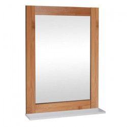Miroir de salle de bain L 50 cm - blanc laqué brillant et marron