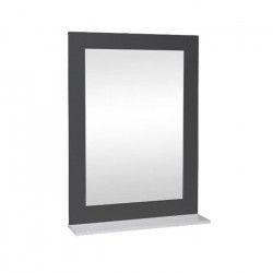 Miroir de salle de bain L 50 cm - Gris laqué brillant et blanc