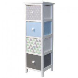 SCANDINAVE Meuble de rangement de salle de bain en bois Paulownia L 25 cm - Blanc et multicolore