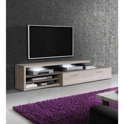 AJACCIO Meuble TV LED contemporain décor chene et décor cacao supermat - L 217 cm