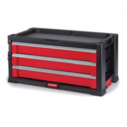 KETER Servante a outils avec 3 tiroirs - Noir et rouge