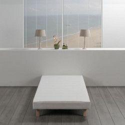 Sommier tapissier a lattes 90 x 190 - Bois massif blanc + pieds - FINLANDEK Rakenne