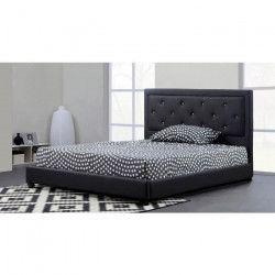 FILIP Lit adulte contemporain simili noir - Sommier et tete de lit capitonnée inclus - l 140 x L 190 cm