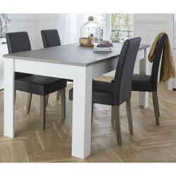 MARQUIS Table a manger de 6 a 8 personnes style contemporain décor pin et décor chene - L 170 x l 90 cm