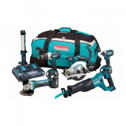 MAKITA Pack 6 machines DLX6044PT avec 3 batteries 18V 5Ah Li-ion, sac de transport et chargeur DC18RD