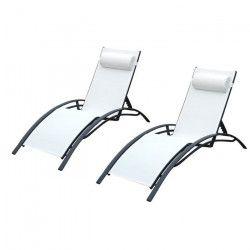 LOUNGITUDE Lot de 2 transats en aluminium noir et toile en textilene blanc