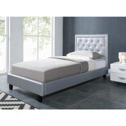 FILIP Lit enfant contemporain simili gris argent - Sommier et tete de lit capitonnée inclus - l 90 x L 190 cm