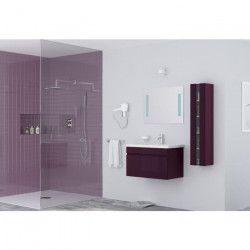 ALBAN Ensemble salle de bain simple vasque L 80 cm avec miroir - Aubergine laqué brillant
