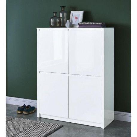 scot buffet haut contemporain laqu blanc brillant l. Black Bedroom Furniture Sets. Home Design Ideas