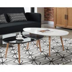 STONE Table basse ovale scandinave noir laqué - L 88 x l 48 cm