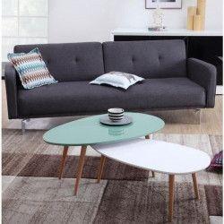 STONE Table basse ovale scandinave vert menthe laqué - L 98 x l 61 cm