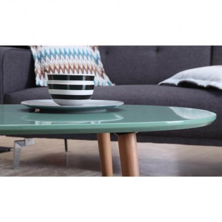 STONE Table basse ovale scandinave vert menthe laqué
