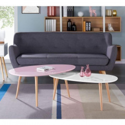 STONE Table basse ovale scandinave rose pastel laqué - L 98 x l 61 cm