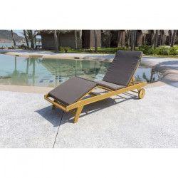 Chaise longue a roulettes en bois d`acacia avec matelas