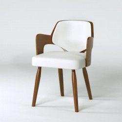 KIRUNA Chaise de salle a manger - Simili blanc - Vintage - L 50 x P 51 cm