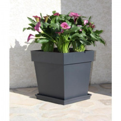 EDA Pot de fleur carré Toscane - 39 x 39 x H 39 cm - 38 L - Gris anthracite