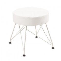 TROCA Pouf - Simili blanc + pieds en métal - Style contemporain - Ø 36 cm