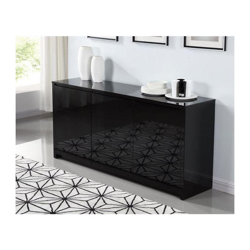 polaris buffet contemporain laqu noir brillant l. Black Bedroom Furniture Sets. Home Design Ideas