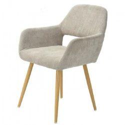 CROMWELL Chaise de salle a manger en métal imprimé bois - Revetement tissu beige - Style scandinave - L 56 x P 56