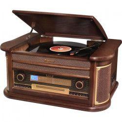 ROADSTAR HIF-1996BT Chaine HiFi Vintage avec Platine Disque, Lecteur CD/MP3/Cassette et USB - Encodage - Finition