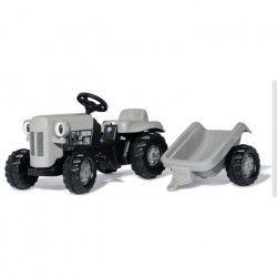 ROLLY TOYS Tracteur a pédales gris Little Grey Fergie et sa remorque