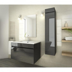 LUNA Ensemble salle de bain simple vasque L 80 cm - Gris anthracite verni
