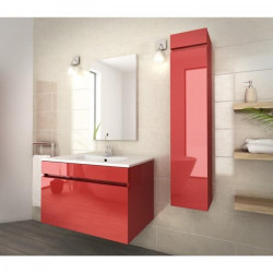 LUNA Ensemble salle de bain simple vasque L 80 cm - Rouge verni